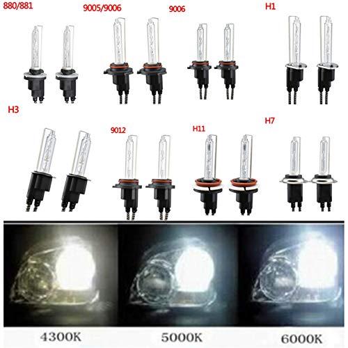 Shping 55W High Bright AC Xenon Kit Bulb Far Faros Light Light 4300k 5000k 5000k 9005 9006 H1 H3 H7 H11 881 880 9012 9005n (Color Temperature : 6000 K, Socket Type : H27/881)