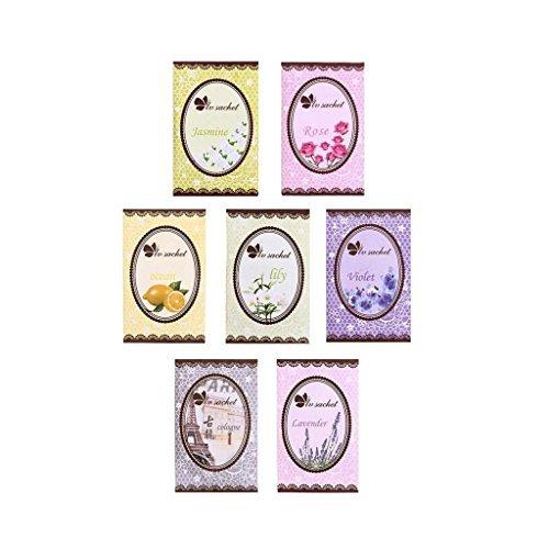 boyAgirl 7 gusti profumata fragranza casa armadio per cassetti profumo bag mini sacchetto (viola/giallo limone/rosa/Jasmine/Lily/Colonia/lavanda)