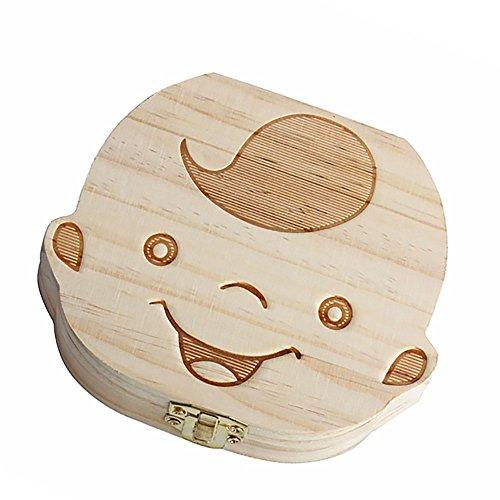 Boîte de dents en bois de lait, boîte de rangement d'organisateur de collecte de lait de collection de lait pour l'enfant de bébé (garçons)