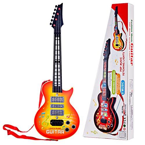 Searchyou - Gitarre Kinder, 4 Strings E-Gitarre Musikinstrument Spielzeug für Kinder ab 3 Jahre - Gelb