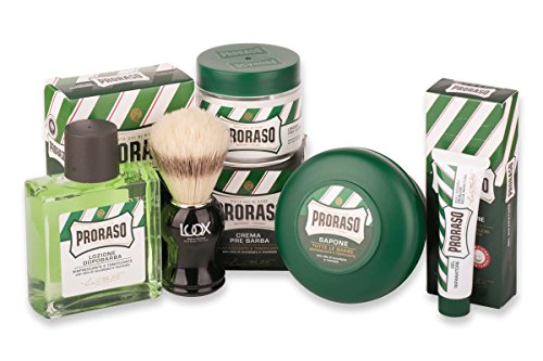 Proraso Shave Kit Rasurset Classic2: LUQX Rasierpinsel Proraso Rasierseife Pre-Shave Cream After Shave Blutstillendes Gel