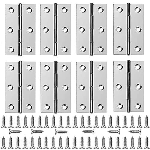Bisagras de Acero Inoxidable,8 Pcs Bisagra de Puerta de Acero Inoxidable con 48 Pcs de Tornillos,Bisagras Puertas Madera,Bisagras a Tope Plegables de Acero Inoxidable,para cajas de madera arma