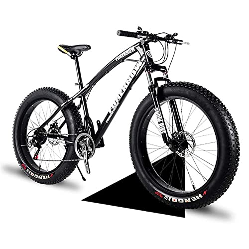 QIU Fat Bike 20'/24'/26' Wheel Size And Men Gender Fat Bicycle From Snow Bike, Fashion 21 Speed Full Suspension Steel Double Disc Brake Mountain Bike Bicycle(black) (Color : Black, Size : 20')