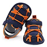SOFMUO Baby Boys Girls Closed-Toe Sandals Breathable Athletic Soft Sole Anti-Slip Infant Summer Toddler Beach Walking Shoes (Navy&Orange,12-18 Months)
