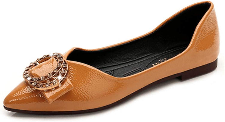 BININBOX Women's Fashion Rivet Diamond Pointed Toe Flats shoes