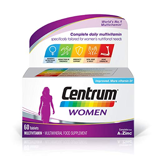 Centrum Women Multivitamin and Mineral Tablets, 24 Essential Nutrients Including Vitamin D, Complete Multivitamin Tablets, 60 Tablets