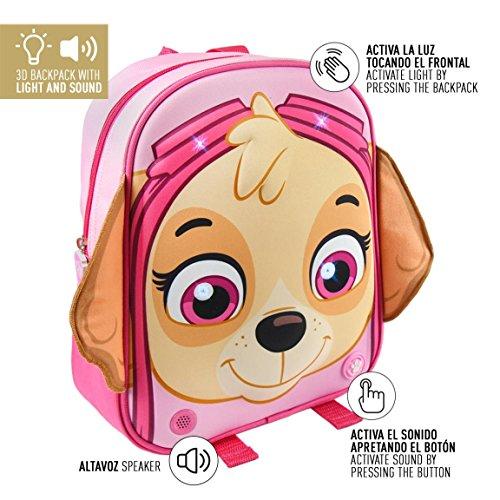 Mochila 3D Patrulla Canina Paw Patrol Girl luz Sonido 32cm