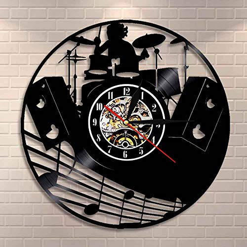 BFMBCHDJ Drum Kit Vinyl Record Wall Clock Music Band Drums Musical Instruments Rock Drummer Wall Clock Unique Gift For Rock Music Lover