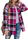 NDCATHE Camisa de cuadros casual para mujer, con bolsillo
