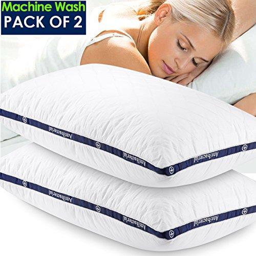 Cuscini per dormire Down alternative Jepson morbido hotel set letto 2cuscini 100% cotone copertura regolabile Loft, sollievo dal dolore al collo, ipoallergenico dust-mite Resistant Queen  76,2x 50,8cm, White1, Standard