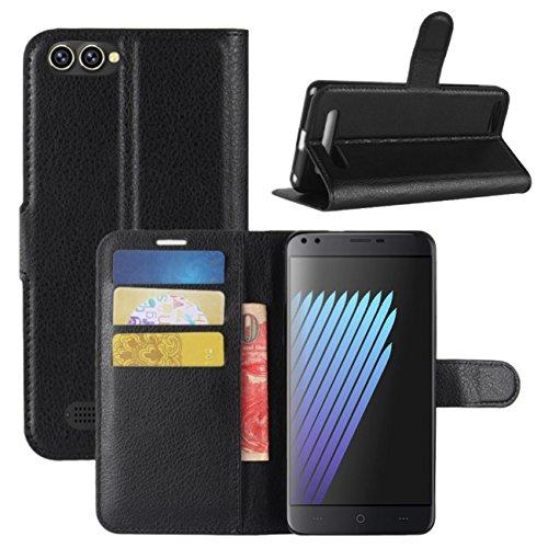 HualuBro Doogee X30 Hülle, Premium PU Leder Leather Wallet Handyhülle Tasche Schutzhülle Hülle Flip Cover mit Karten Slot für Doogee X30 5.5 Inch Smartphone (Schwarz)