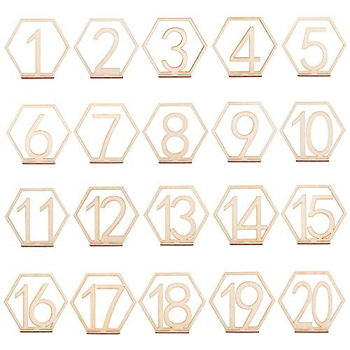 1-20 Números de mesa de boda Número de mesa de madera para bodas con base Números de mesa de madera con base de soporte Números de madera de corazón para bodas fiestas eventos decoración de catering