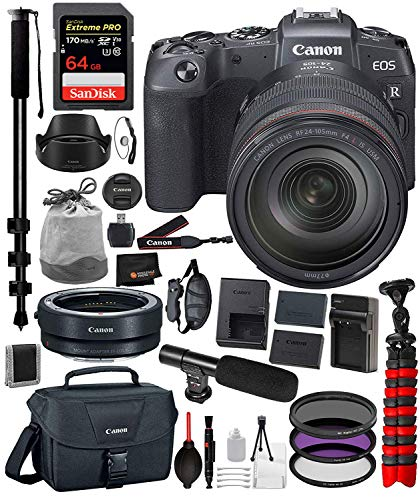 Canon EOS RP Mirrorless Digital Camera with 24-105mm Lens and Accessory Bundle – Includes SanDisk Extreme Pro 64GB SDXC Memory Card + Extended Life Replacement Battery (LP-E17) + More