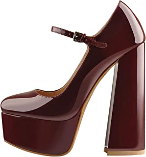 Women's Platform Chunky Block High Heels Round Toe Pumps Strap with Buckle Party Wedding Shoes (Color : Wine, Size : 12 UK)