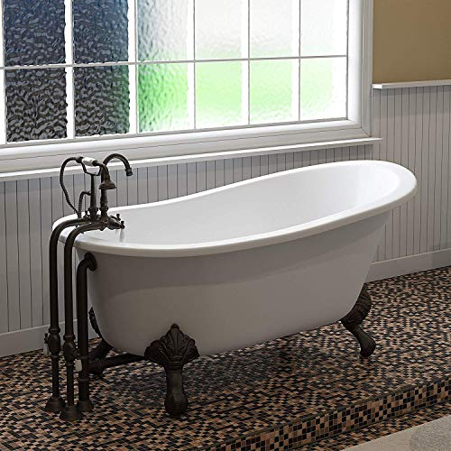 Learn More About Cast Iron Slipper Clawfoot Tub 61 X 30 with no Faucet Drillings and Complete Oil ...