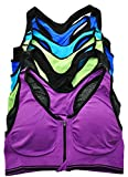 ToBeInStyle Women's 6Pk Wirefree Sports Bra w/Front Zipper - Colors - S/M