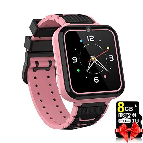 Reloj inteligente para niños y niñas, pantalla táctil HD, con cámara, juegos, grabador, alarma, reproductor de música para niños, adolescentes y estudiantes (rosa)
