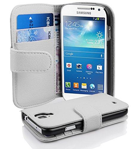Cadorabo Hülle für Samsung Galaxy S4 Mini - Hülle in Magnesium WEIß – Handyhülle mit Kartenfach aus struktriertem Kunstleder - Case Cover Schutzhülle Etui Tasche Book Klapp Style