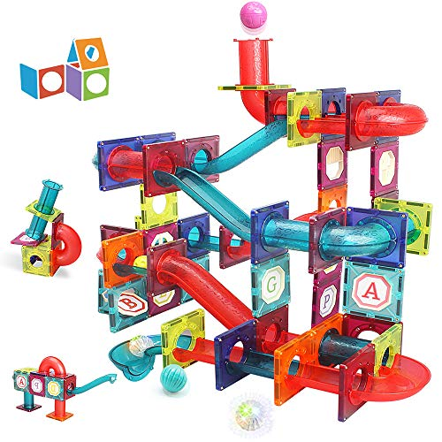LUKAT Magnetic Tiles, 125 Piece Pipe Magnetic Blocks for Toddlers, 3D Magnets Toys, STEM Toy Children Magnetic Tiles Building Set Gift for Kids Boys Girls 3 4 5 6 7 8+ Year Old