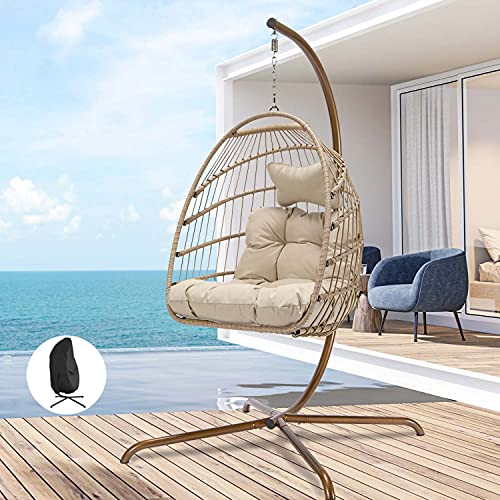 Swing Egg Chair with Stand Indoor Outdoor Wicker Rattan Patio Basket Hanging Chair with UV Resistant Cushions Aluminum Frame 350lbs Capaticy for Bedroom Balcony Patio (Cream with Cover)