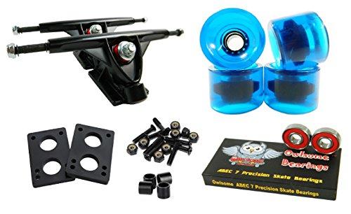 Longboard 180mm Trucks Combo w/ 70mm Wheels + Owlsome ABEC 7 Bearings (Gel Blue)