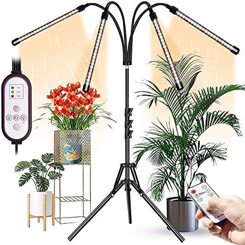 ZGNB Lámpara de Planta Espectro Completo,Lamparas LED Cultivo,Grow Light con Control Remoto de Trípode,Regulable 360° 9 Brillo 3 Modos,con Temporizador de Encendido 4/8/12 H