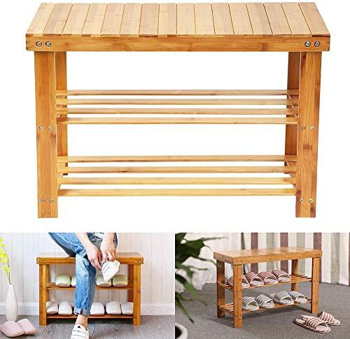 MKHB Zapatero de bambú Banco de Almacenamiento de Zapatos de 2 Niveles Taburete de bambú Natural con Banco para Pasillo baño Sala de Estar Pasillo