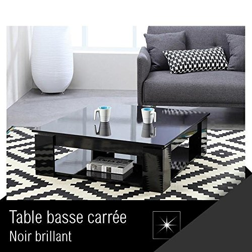MANHATTAN Table basse carrée style contemporain noir brillant - L 89 x l 89 cm