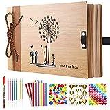 """Album fotografico in legno con scritta """"Dandelion"""" per album di ricordi, album di ricordi per coppie, matrimonio, anniversario, album dei ricordi, album , con 5 adesivi, 8 penne a colori"""