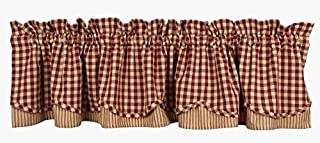 Home Collection by Raghu Heritage House Check Fairfield Valance, 72 by 15.5-Inch, Barn Red/Nutmeg