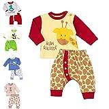 Baby Sweets Unisex 2er Baby-Set mit Hose & Shirt für Mädchen & Jungen/Baby-Erstausstattung in Gelb, Braun & Rot im Giraffen-Motiv/Baby-Kleidung aus Baumwolle in Größe: Newborn (56)