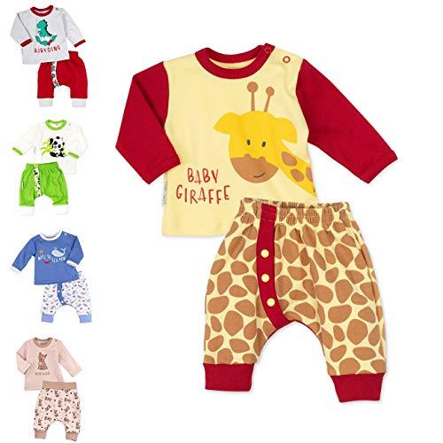 Baby Sweets Unisex 2er Baby-Set mit Hose & Shirt für Mädchen & Jungen/Baby-Erstausstattung in Gelb, Braun & Rot im Giraffen-Motiv/Baby-Kleidung aus Baumwolle in Größe: 0-3 Monate (62)