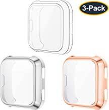 KIMILAR Screen Protector Case Cover Compatible with Fitbit Versa [3-Pack], All-Around Screen Protective Case Bumper Cover Saver Soft TPU Plated Case for Versa Smartwatch (Clear+Silver+Rose Gold)