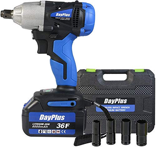Cordless Impact Wrench 1/2 inch Driver 18V 420N.m High Torque with Socket...