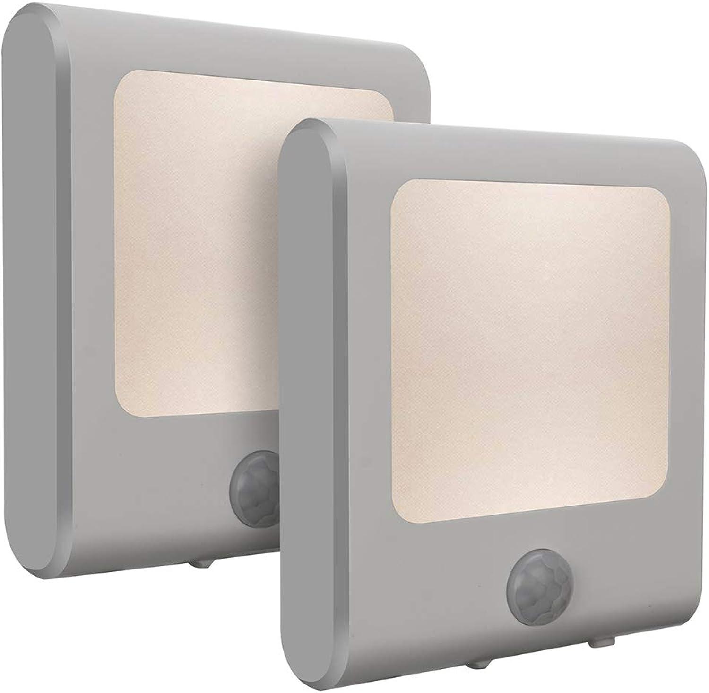 Vintar LED Nachtlicht Steckdose mit Dmmerungssensor Bewegungsmelder Steckdosenlicht Schlaflicht Helligkeit stufenlos einstellbar für Schlafzimmer Kinderzimmer Warmwei 2 Stück