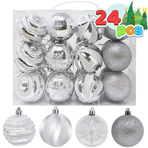 "Joiedomi 24 Pcs Christmas Ball Ornaments, Deluxe Shatterproof Christmas Ornaments for Holidays, Party Decoration, Tree Ornaments, and Special Events (Silver&White, 2.36"")"