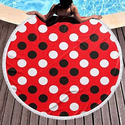 Strandtuch mit runden Quasten für draußen, Picknickdecke, Mikrofaser-Stranddekoration für Damen, Rot / Weiß gepunktet