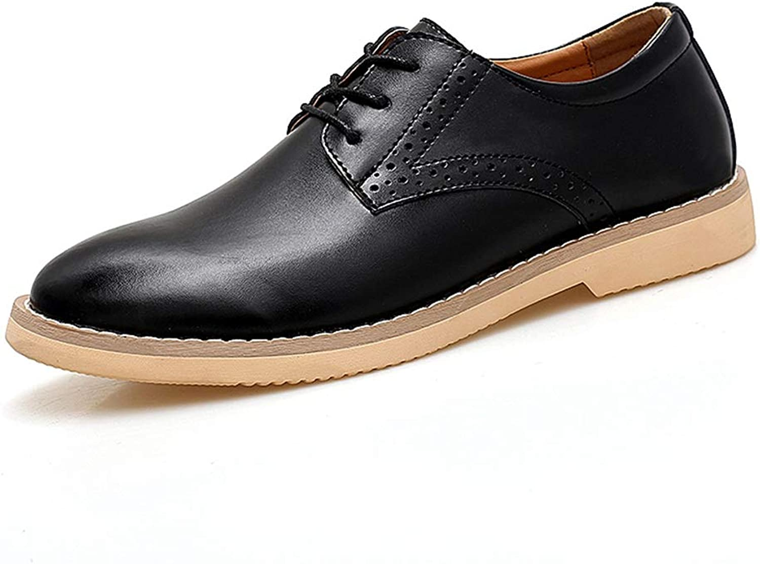Patent leather Men's Business Stylish comfortable Breathable Oxford Casual Youth Trend Simple Pure color Lace Up Formal shoes Formal wear Dress shoes (color   Black, Size   7.5 UK)