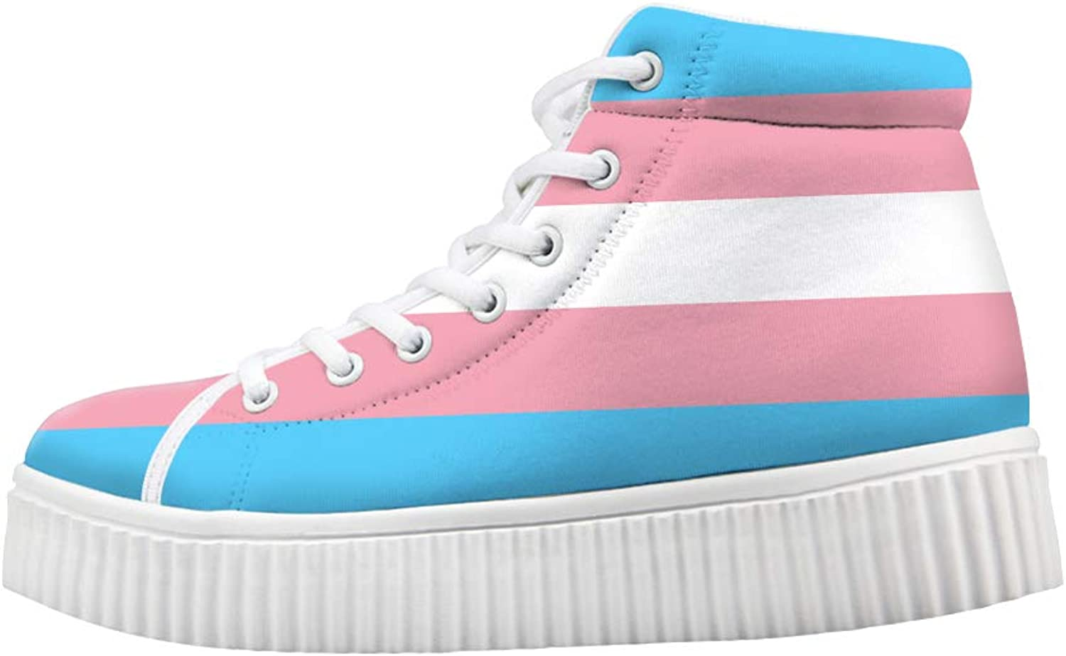 Owaheson Platform Lace up Sneaker Casual Chunky Walking shoes High Top Women Transgender Pride Flag