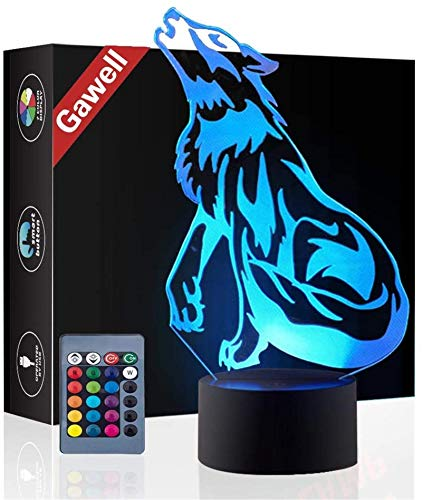 3D Illusion Birthday Gift Lamp , Gawell 16 Colors Changing Touch Switch Xmas Decoration Night Light Remote Control (Wolf Lamp)