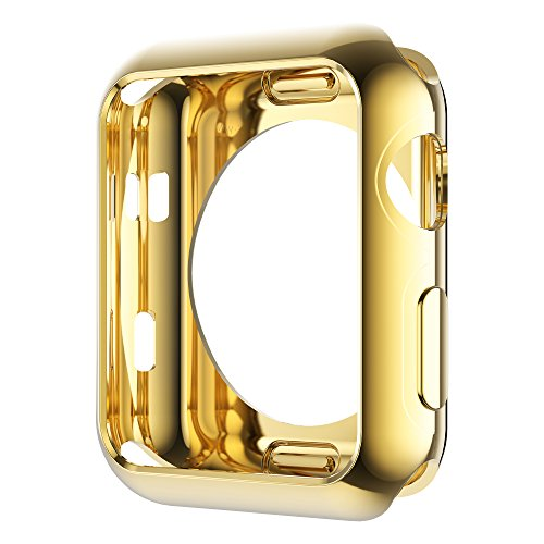 Leotop Compatible with Apple Watch Case 44mm 40mm, Soft Flexible TPU Plated Protector Bumper Shiny Cover Lightweight Thin Guard Shockproof Frame Compatible for iWatch Series 6 5 4 SE (V1-Gold, 40mm)