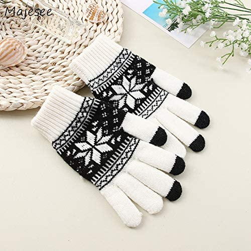 Gloves Men Printed Simple Warm Soft Daily Knitting Winter Glove Mens Thicker Fashion Leisure Trendy Mittens Chic - (Color: Kahki, Gloves Size: One Size)