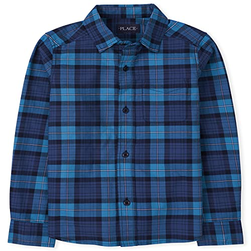 The Children's Place Boys' Long Sleeves Plaid Oxford Button Down Shirt, at SEA, X-Large