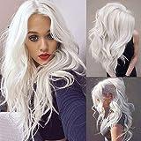Perücke Lang Weiß lockige Welle Perücke für Frauen long White Wig Cosplay Halloween Party Fancy Dress Perücke(Milchig weiß)