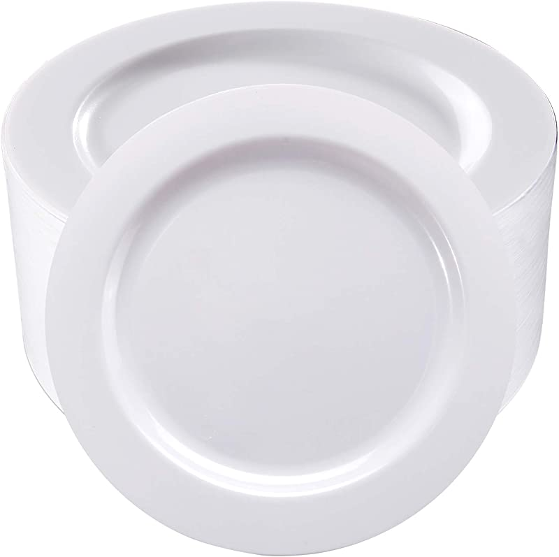 50Pcs White Plastic Dinner Plates 10 25 Inch Premium Disposable Plates Safe And Reusable Great For Party Or Wedding