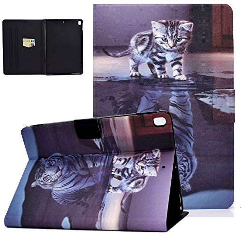 UGOcase iPad 10.2 Case 2020, iPad 8th/7th Gen 2020/2019 Case with Card Slots, Auto Sleep Wake PU Leather Shockproof Flip Stand Shell Cover for iPad 8 10.2' 2020/iPad 7 10.2 Inch 2019 - Cat & Tiger