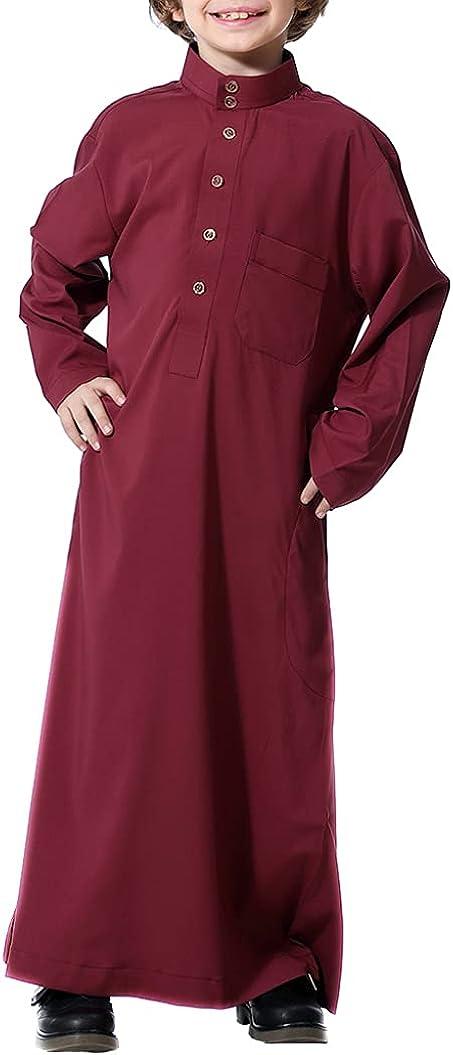 renvena Kids Boys Muslim Thobe Long Sleeve Embroidery Saudi Arab Robe Islamic Dubai Clothing