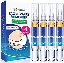 Tomiya Skin Tag Remover - Wart Remover - Quickly Remove Common And Plantar Warts - Corns - Callus (4 Packs) (Blue)