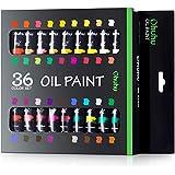 油絵の具 36色 Ohuhu 油絵具 12ml 鮮やか 色褪せない 優れた着色力 油彩絵具 オイルペイント チューブ 学習教材 画材 イラスト 数字油絵 DIY