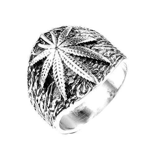 GuDeKe Chicos de Hombres Acero Inoxidable Hierba Marihuana Cannabis Hoja Anillo Joyas de símbolo para Hombres (Acero, 14)